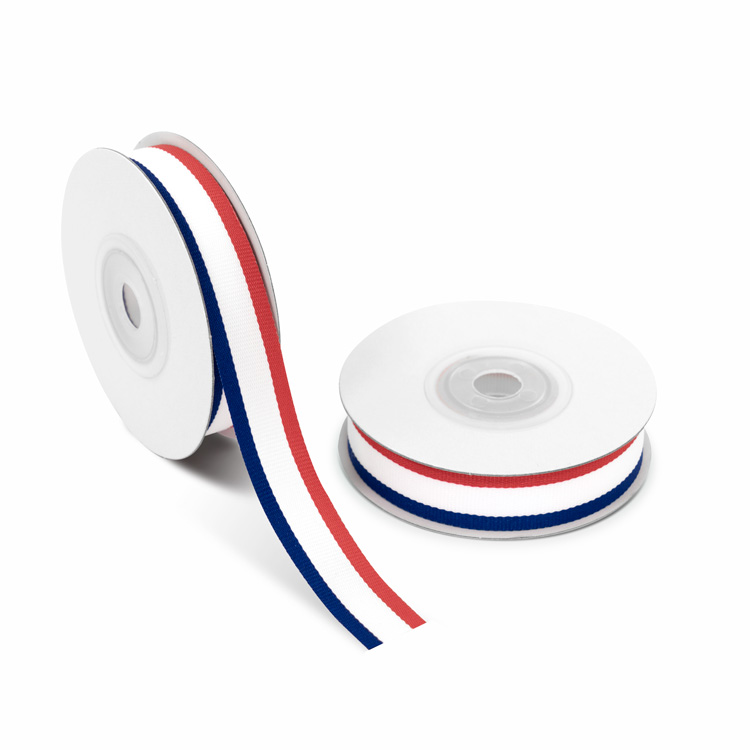 Grosgrain Ribbon 15mm stripe [Red & White & Blue] 10m