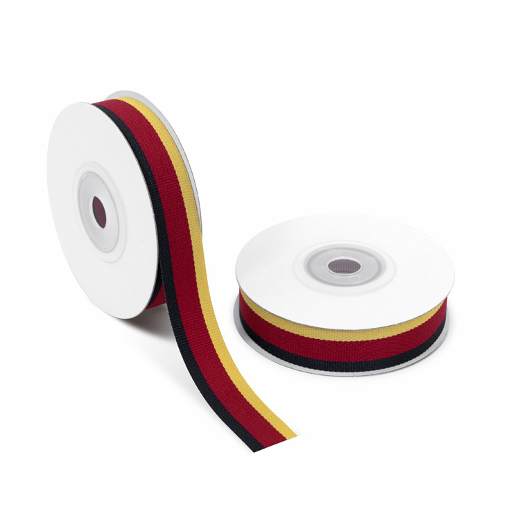 Grosgrain Ribbon 15mm stripe [Dark Blue & Wine Red & Mustard] 10m
