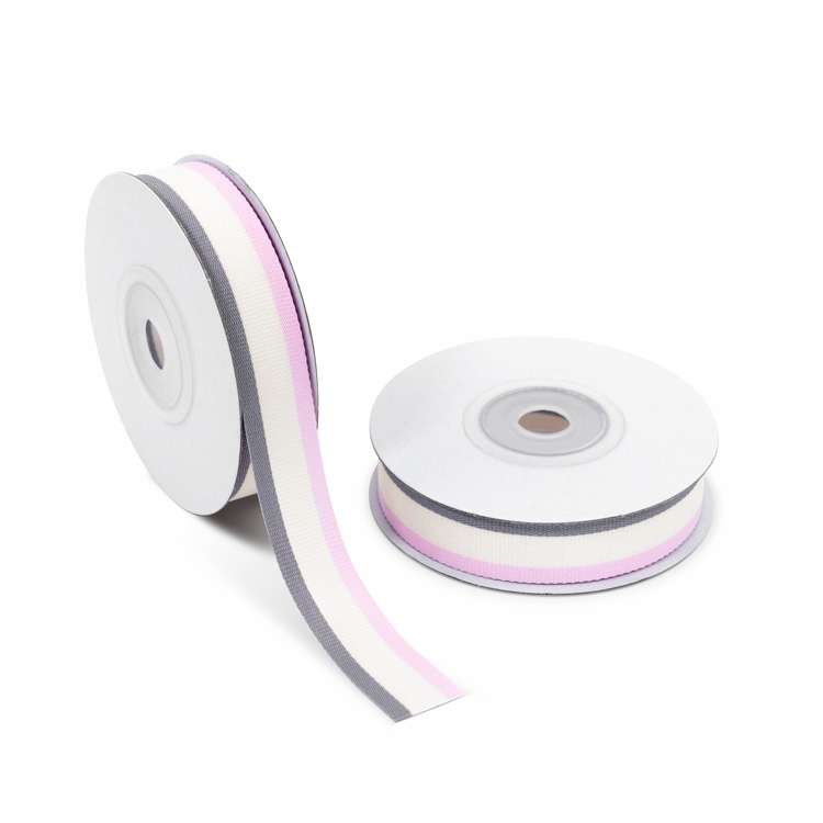 Grosgrain Ribbon 15mm stripe [Pink & Buttermilk & Gray] 10m